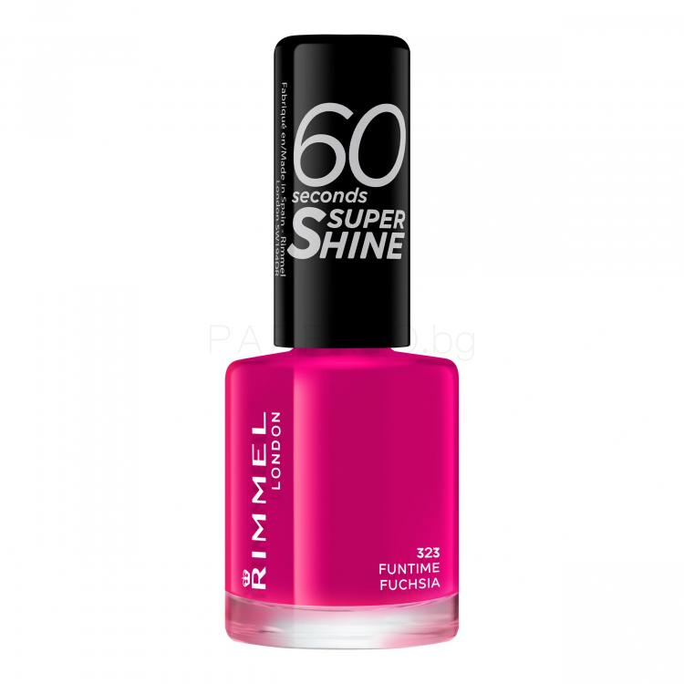 Rimmel London 60 Seconds Super Shine Лак за нокти за жени 8 ml Нюанс 323 Funtime Fuchsia