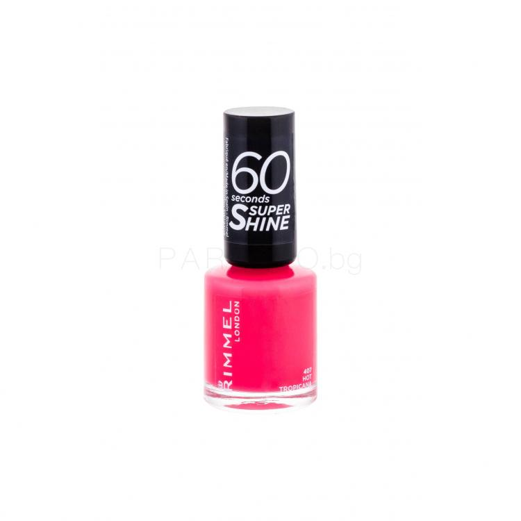 Rimmel London 60 Seconds Super Shine Лак за нокти за жени 8 ml Нюанс 407 Hot Tropicana