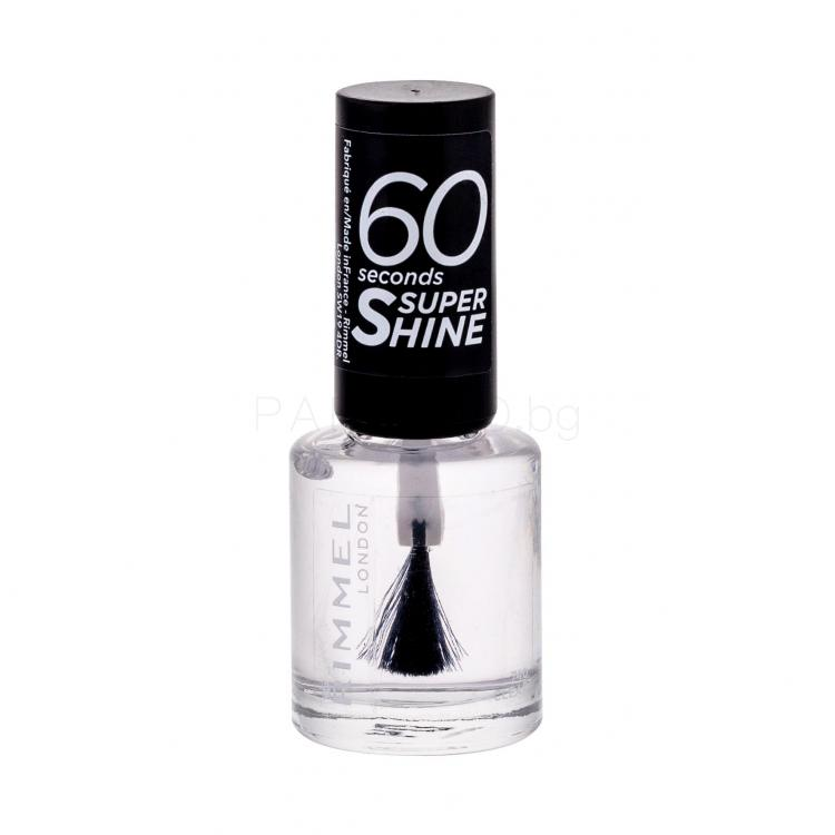 Rimmel London 60 Seconds Super Shine Лак за нокти за жени 8 ml Нюанс 740 Clear