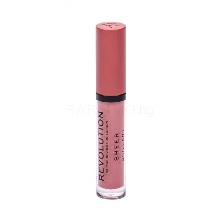 Makeup Revolution London Sheer Brillant Блясък за устни за жени 3 ml Нюанс 107 RBF